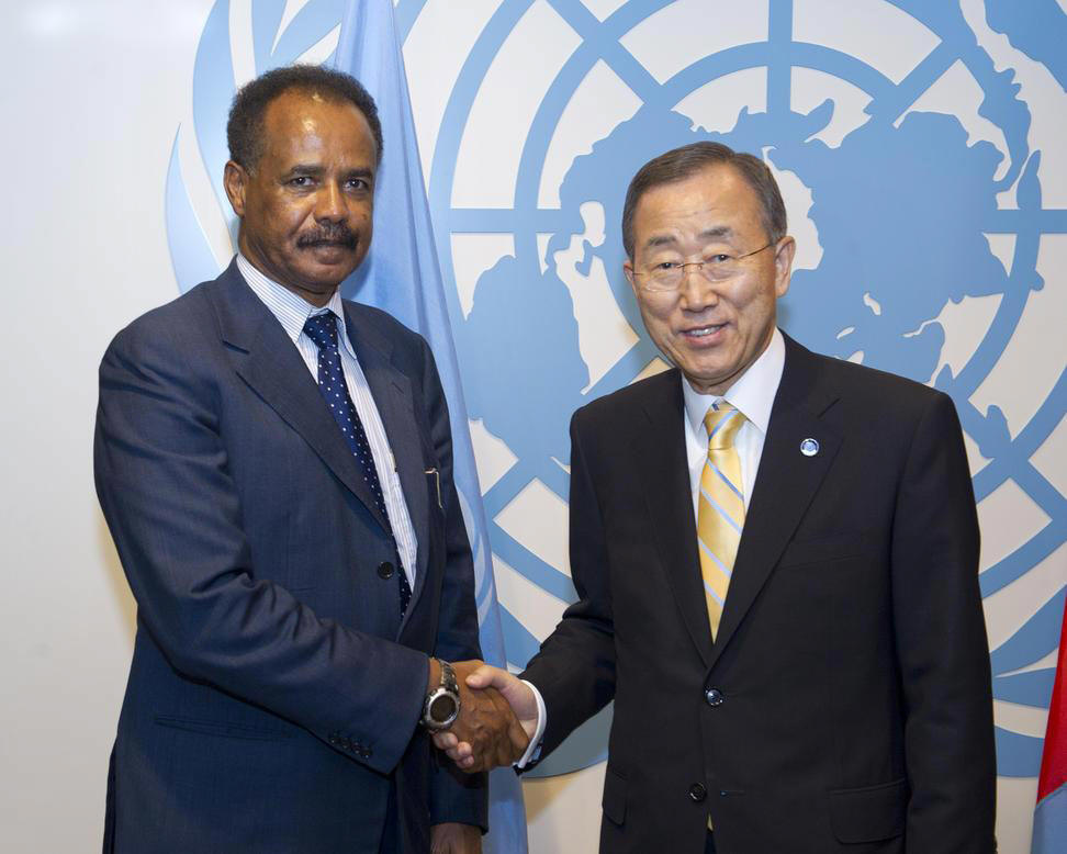 Secretary-General Ban Ki-moon (right) and  President Isaias Afwerki of Eritrea